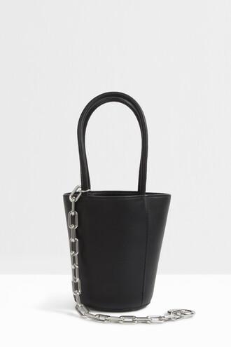 mini women bag bucket bag black