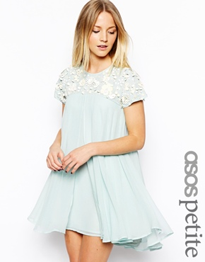 ASOS Petite | ASOS PETITE Exclusive Premium Floral Embellished Trapeze Dress at ASOS
