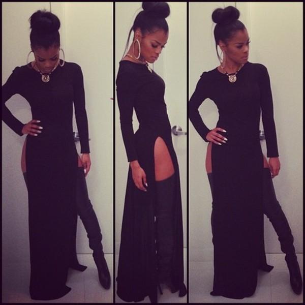 dress thy high heels black dress maxi dress double split skirt high split teyana taylor gold shoes top