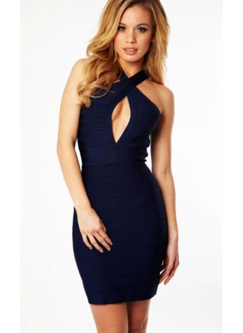 PriveClothing.com NAVY OPEN BUST BANDAGE DRESS