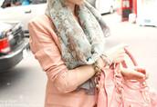 scarf,light blue,light green scarf,wide scarf,long scarf,green,light green,pink jacket,bracelets,bag,pink bag,green scarf,clothes,gold,jacket,pink,vintage,floral