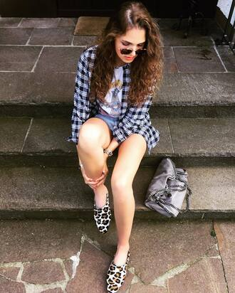 shoes babouches animal print short denim shorts top white top shirt tartan shirt plaid shirt sunglasses aviator sunglasses bag stella mccartney grey bag summer outfits