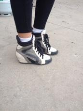 shoes,heels,high heels,white,grey,black,white and grey,black and white,grey and black,swag,pretty,cute,dress,make-up,jewelry,necklace,earrings,bracelets,braclet,sexy,wedges,wedge heels,wedge booties,black wedge booties