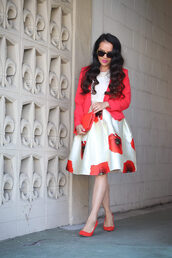 stylish petite,blogger,skirt,top,jacket,shoes,bag,make-up,jewels,sunglasses,red heels,red jacket,blazer,clutch,red bag