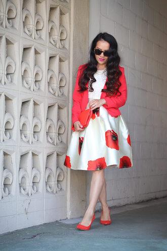 stylish petite blogger skirt top jacket shoes bag make-up jewels sunglasses red heels red jacket blazer clutch red bag