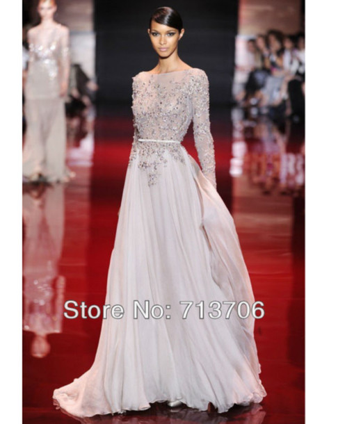 Long Sleeve Beautiful Prom Dresses
