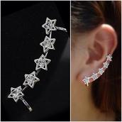 jewels,earrings,ear cuff,stars,silver
