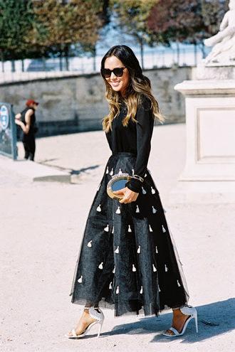 maxi skirt sunglasses clutch blogger vanessa jackman tassel