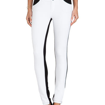 Bobi Skinny Pants with Leather in White & Black on Wanelo