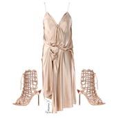 dress,gold dress,heels,gold heels,lanvin drape dress,sophia webster,shoes,satin,satin dress,knot,slit,strappy,silk dress