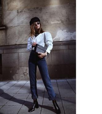 sirma markova blogger shirt blouse bag jeans shoes sunglasses hat jewels