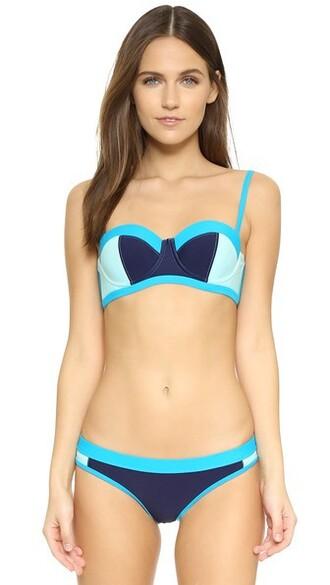 bikini bikini top blue swimwear