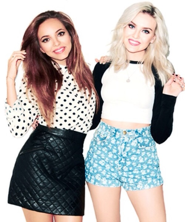 shorts blue high waisted blue shorts turquoise perrie perrie edwards little mix celeb pretty girl make-up blonde hair brunette hair long hair black white t-shirt band band t-shirt bikini skirt shirt