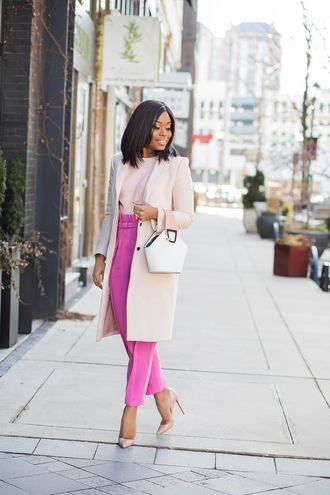 jadore-fashion blogger coat sweater pants shoes bag winter outfits white bag pink pants pumps