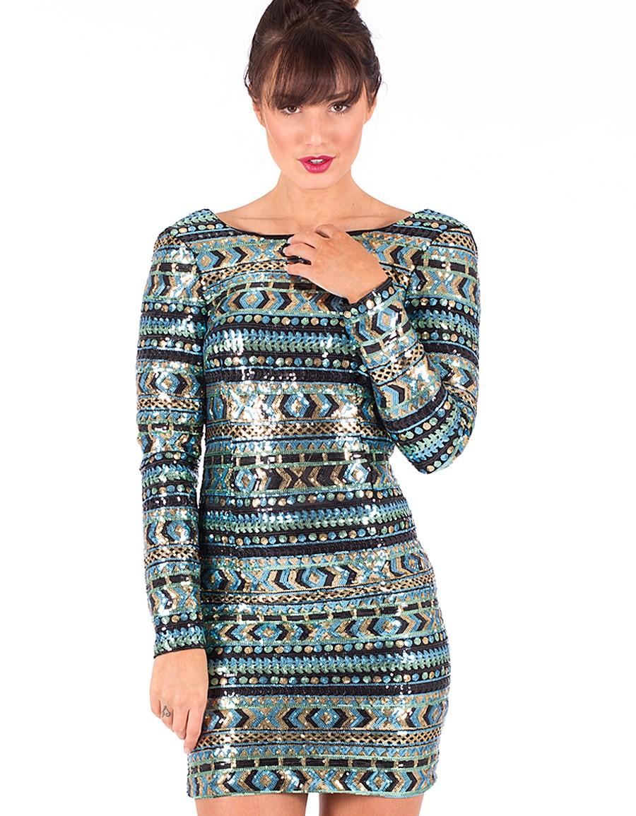 Sequin Dress - Multi Color Sequin Aztec Mini   UsTrendy