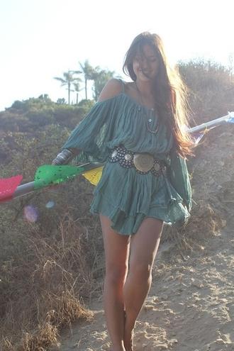 dress boho dress bohemian dress bohemian green green dress belt