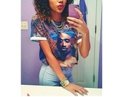 t-shirt,high waisted jeans,tupac shirt,cute,fly,jewels,jeans,shirt,tupac,pants