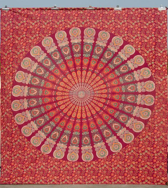 90 x 100 mandala tapestry  handblocked mandala tapestry by moomal
