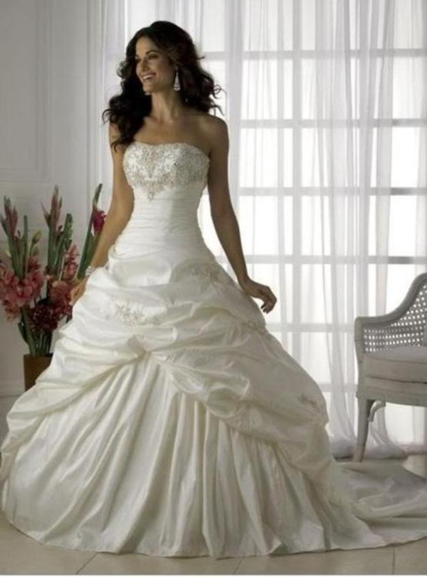 Free Shipping Custom Made Strapless Appliques Taffeta Wedding ...