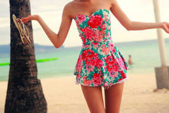 blouse top dress peplum summer floral beach holidays sun hot cute bandeau strapless