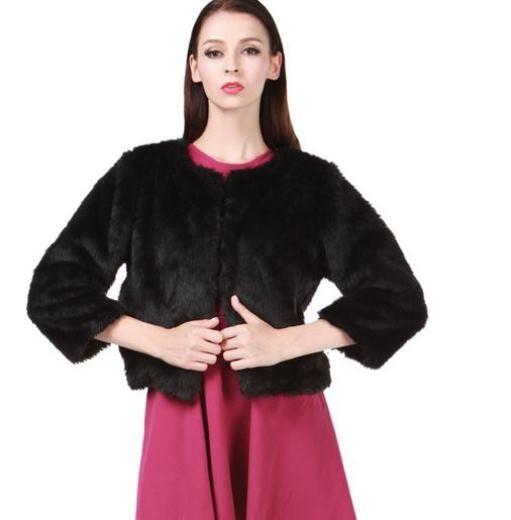 Black collarless faux fur coat
