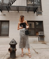 skirt,midi skirt,black top,sandals,mid heel sandals,handbag