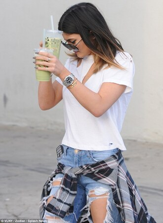 shirt flannel flannel shirt kylie jenner t-shirt jeans jewels
