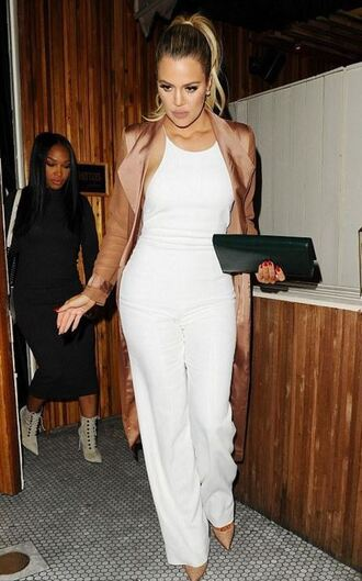 coat top pants white pants khloe kardashian kardashians pumps shoes jumpsuit