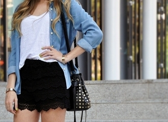shirt denim rolled sleeves lace skirt studded bag whie shirt buttons front pockets