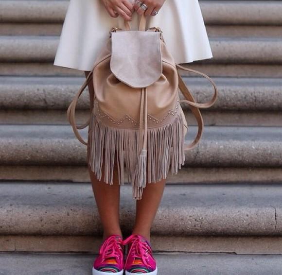 bag brown bag shoes sneakers handbag indian bag indian bag suede brown leather blue fringes cowboy backpack fringed bag tan bag aztec shoes