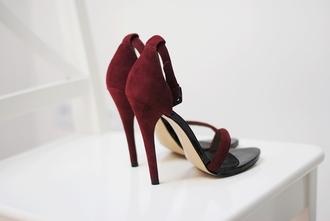 shoes high heels burgundy sandals sandal heels heels fashion female style clothes footwears footwear
