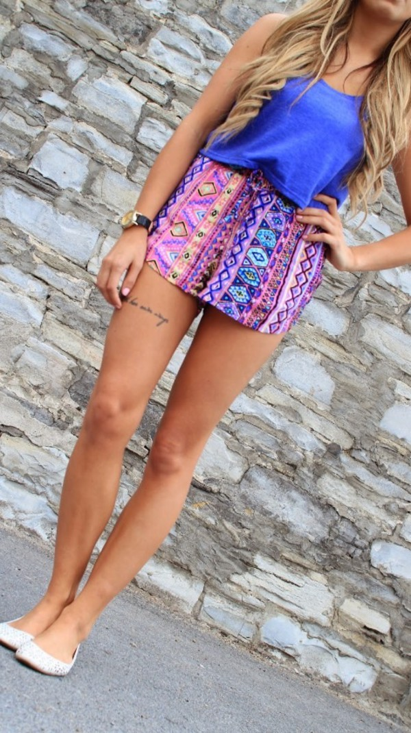 comfy tribal pattern purple shorts purple shorts top