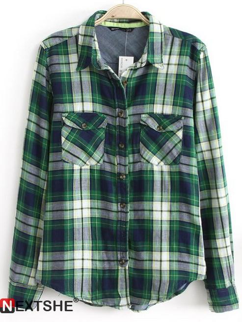 Green long sleeve plaid lapel blouse with two pockets