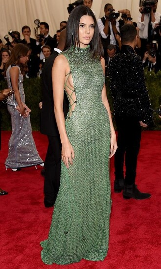 dress kendall jenner kendal jenner dress metgala green dress green lace up emerald green gemstone sequin dress sexy dress prom dress prom prom gown halter neck dress celebrity beautiful pretty red carpet dress
