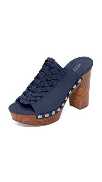 mules navy shoes
