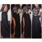 Long maxi flower sequins glitter black mesh long sleeves evening dress | awesome world - online store
