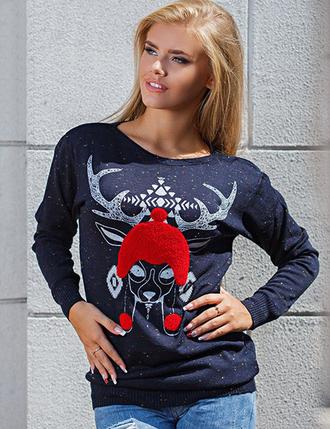 sweater zefinka reindeer sweater deer christmas sweater knitted sweater cozy fall outfits winter sweater