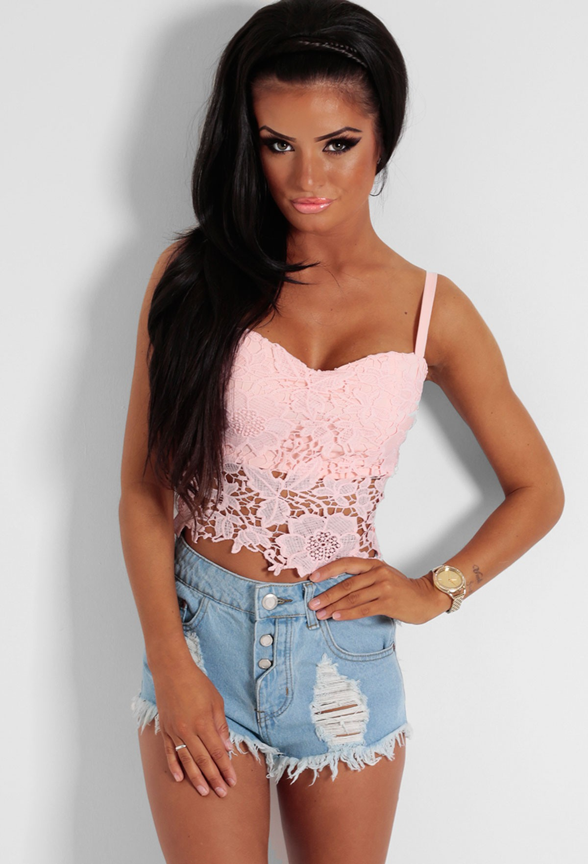 Sweet dreams baby pink lace bralet crop top pink boutique for Boutique tops