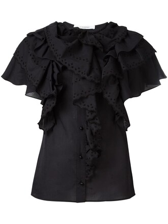 top ruffle women cotton black
