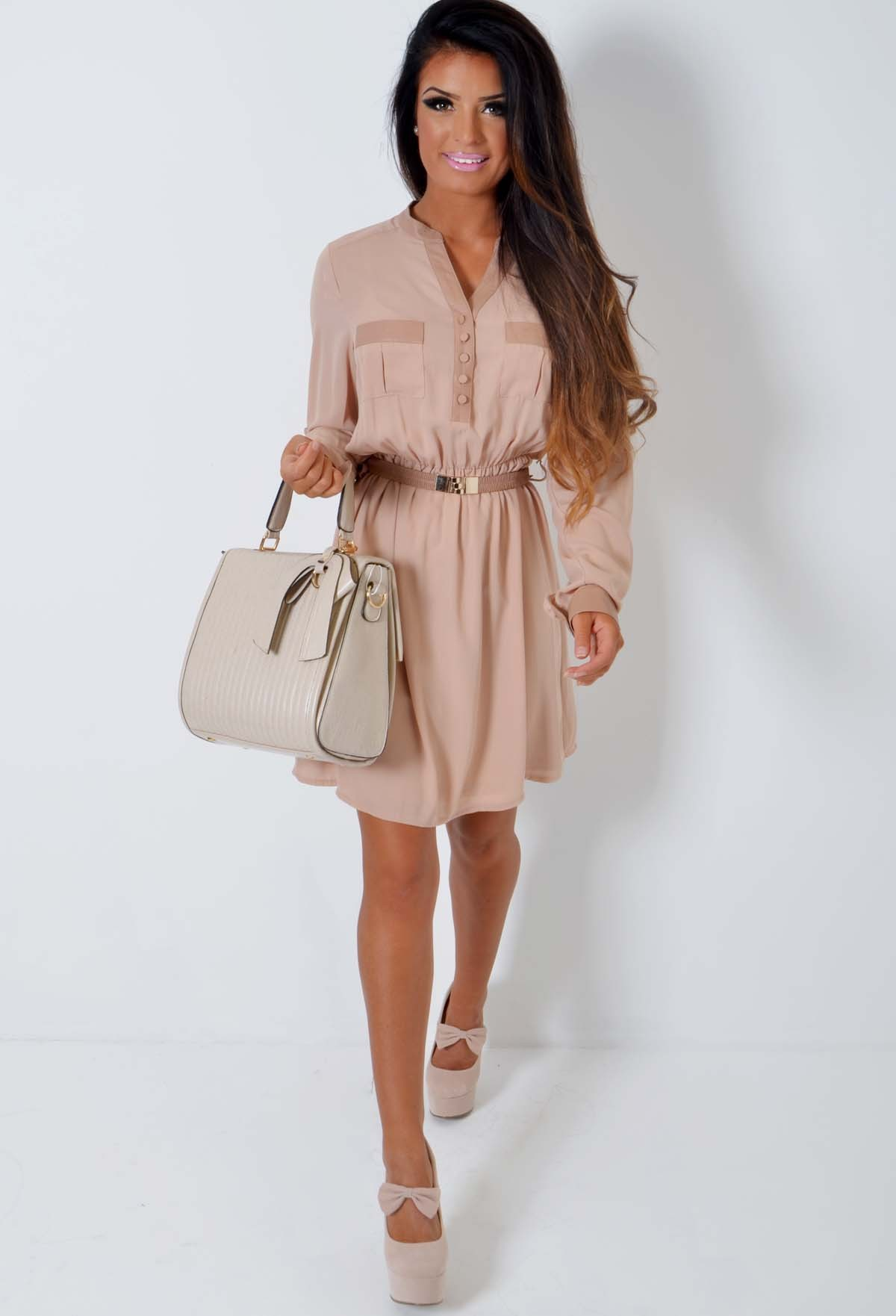 Amerie Nude Chiffon and Leatherette Shirt Dress | Pink Boutique
