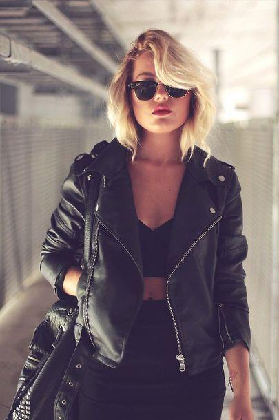 jacket leather jacket cute top all black everything cute outfits short hair all black everything sunglasses bag coat clothes