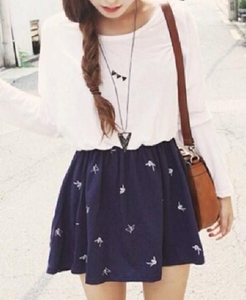 skirt blue skirt skater skirt birds white tshirt bag