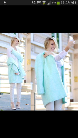 cotton candy pea coat turquoise