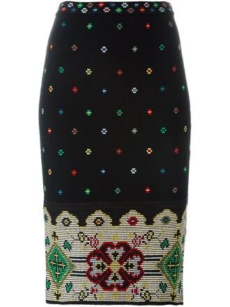 skirt pencil skirt women spandex floral black silk