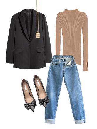 jestem kasia blogger sweater jeans jacket shoes jewels blazer pumps winter outfits