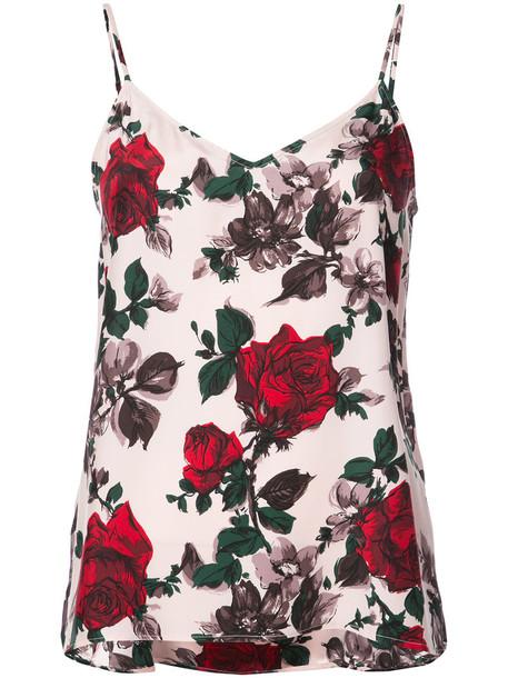 Equipment top vest top women floral print silk purple pink