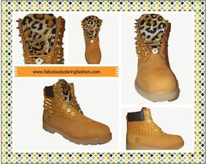 Custom Timberland Boots Spikes Cheetah Leopard Print Sizes 5 13 | eBay