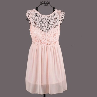 dress light pink pretty cute short dress lace dress flowers