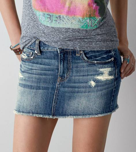 AEO Destroyed Denim Mini Skirt, Medium Wash | American Eagle Outfitters