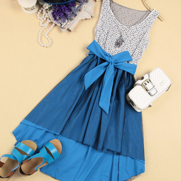 [grhmf260002064]Elegant High-low Hemline Bowknot Sleeveless Lace Spliced Dress